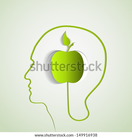 Human head with paper green apple - symbol Freedom and creativity - stock vector