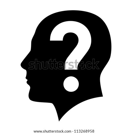Human head with question mark symbol on white