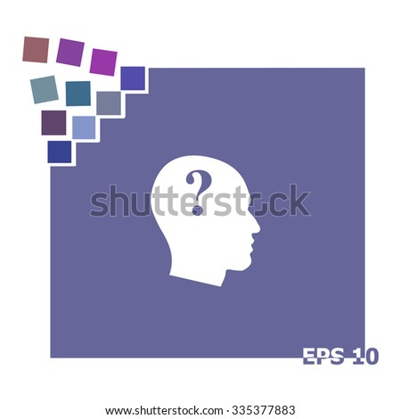 Human head with question mark vector icon.