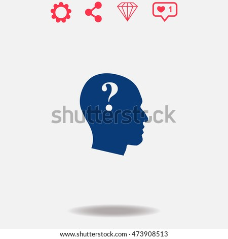 Human head with question mark vector icon on grey background.