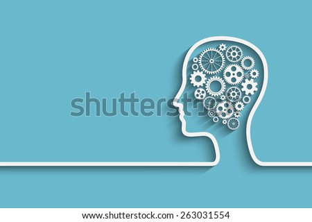 Human head with set of gears as a symbol work of brain, Eps10 vector background for your design - stock vector