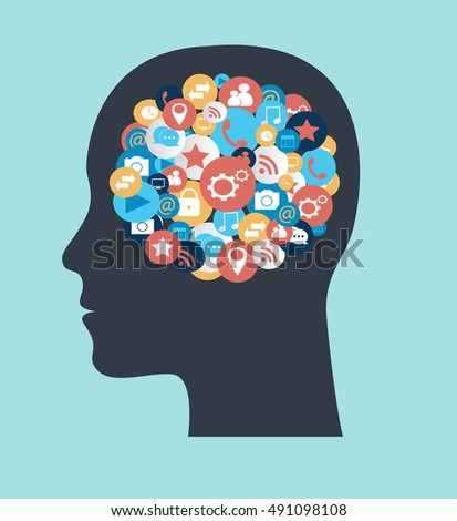 Human head with social media icons flat design