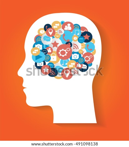 Human head with social media icons orange color