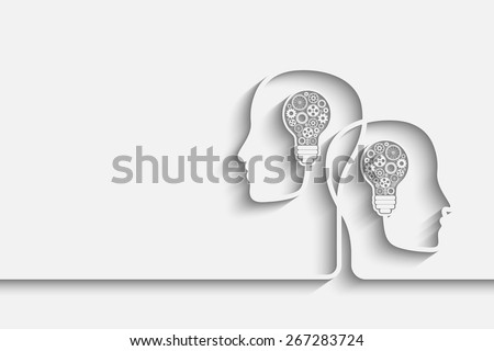 Human heads creating a new idea background. Eps10 vector for your design - stock vector