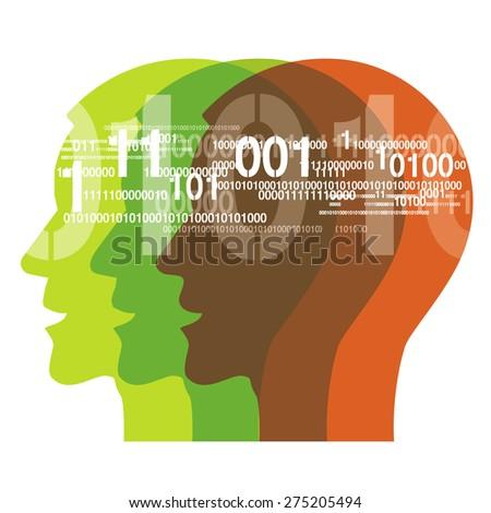 Human Heads with binary codes.Three Human Heads with binary codes. Concept for information technology.  Vector illustration.  - stock vector