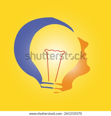 Human heads with Bulb symbol Business - concepts. - stock vector
