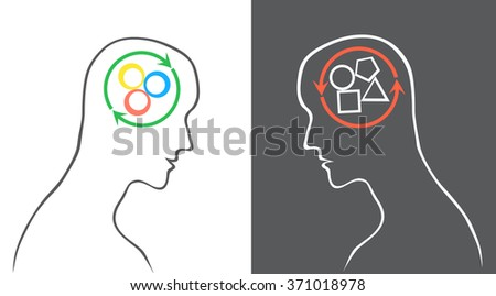 Human heads with squares, circles, triangles inside. 