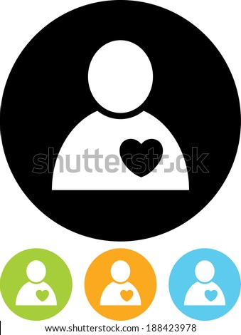 Human heart. Cardiology patient vector icon - stock vector