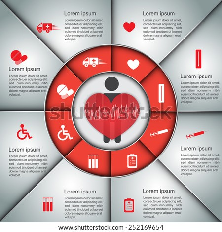 Human & Heart Icon With  Icon and Dialog Box Design. Red/Silver Color Medical Infographic Elements. Vector Illustration Template Design. - stock vector