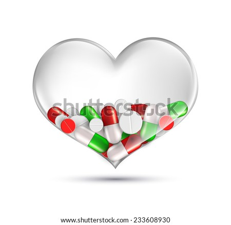 human heart of a transparent glass which contains medication - stock vector