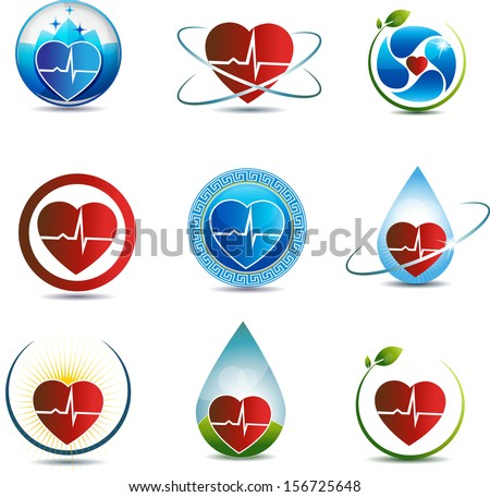 Human heart symbol collection. Health care concept, heart shape and cardiogram. Concept of nature healing involved in cardiovascular system health care. - stock vector