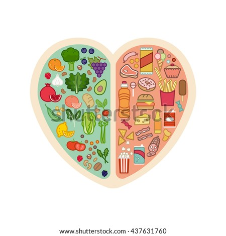 Human heart with healthy fresh vegetables on one side and junk unhealthy food on the other side, healthy food for heart concept - stock vector