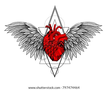 Human heart with wings and geometry. Vector illustration.