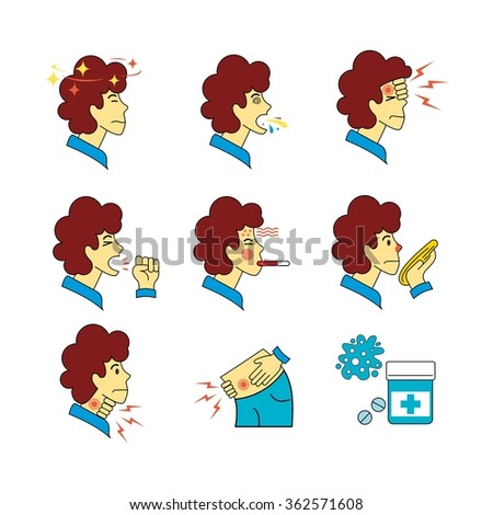 Human illness and diseases symptoms signs set. Sick people with brown hair avatar. Thin line art icons. Flat style illustrations isolated on white. - stock vector