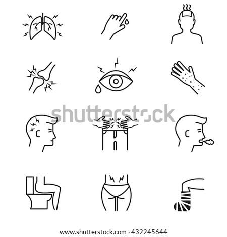 Human illness and diseases symptoms thin line vector icons set. Disease human symptom and medical symptoms illustration - stock vector