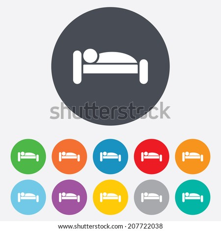 Human in bed sign icon. Travel rest place. Sleeper symbol. Round colourful 11 buttons. Vector - stock vector