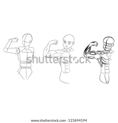 human in motion artistic sketch with shading vector - stock vector