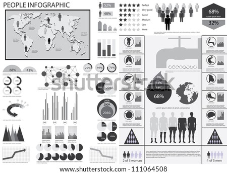 Human info graphic vector illustration. World Map and Information Graphics. Water information graphics - stock vector