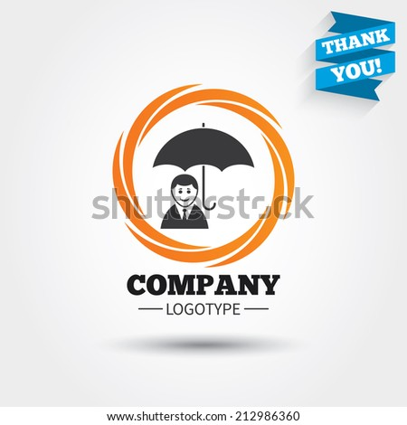 Human insurance sign icon. Man Person symbol. Business abstract circle logo. Logotype with Thank you ribbon. Vector