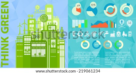 Human issues and eco cities infographics template