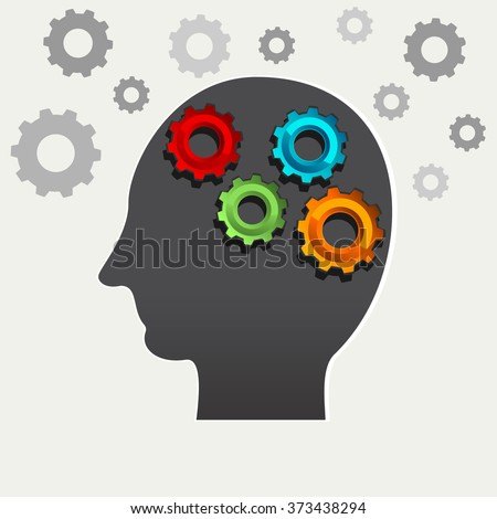 Human learning, human brainstorming, or human thinking concept illustration. - stock vector