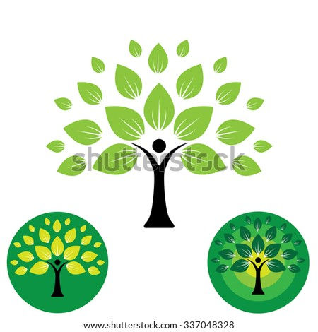 human life logo icon of abstract people tree vector. this design represents eco friendly green, family tree, signs and symbols, education, learning, green tech, sustainable growth & development - stock vector
