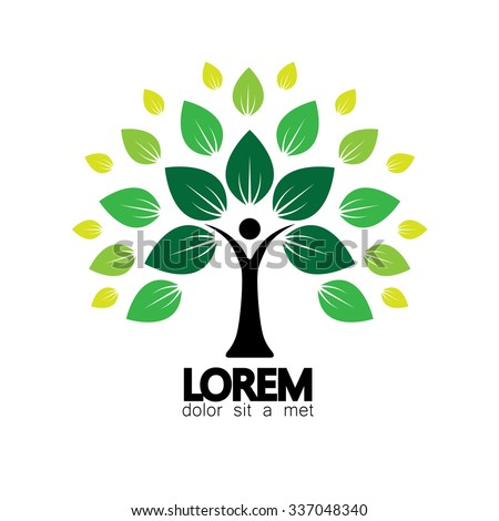 human life logo icon of abstract people tree vector. this design represents eco friendly green, family tree, signs and symbols. - stock vector
