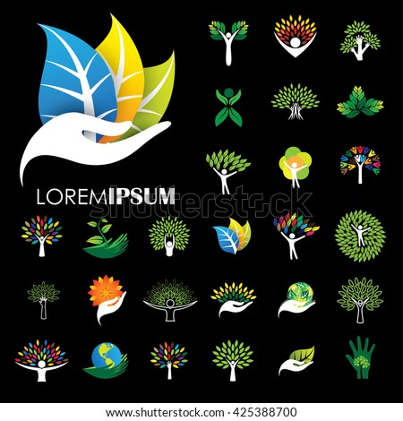 human life logo icons of abstract people tree vectors. this design also represents eco friendly green, embracing, hug, friendly, education, learning, green tech, growth, peace, balance - stock vector