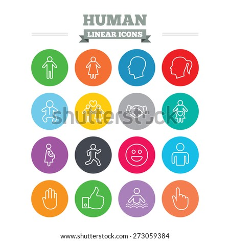 Human linear icons set. Male and female symbols. Infant toddler and pregnant woman. Happy smile face. Success deal handshake. Thin outline signs. Flat circles vector - stock vector