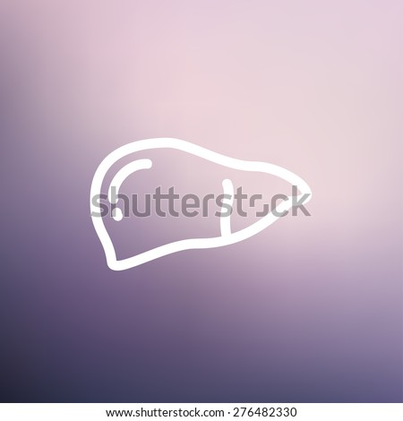 Human liver icon thin line for web and mobile, modern minimalistic flat design. Vector white icon on gradient mesh background. - stock vector