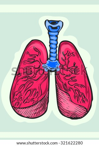 Human lungs cartoon hand draw illustration. Ink on paper based out line - stock vector