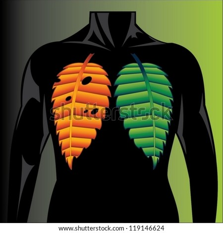human lungs with tobacco leaves - stock vector