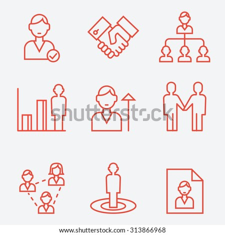 Human management, thin line style, flat design - stock vector