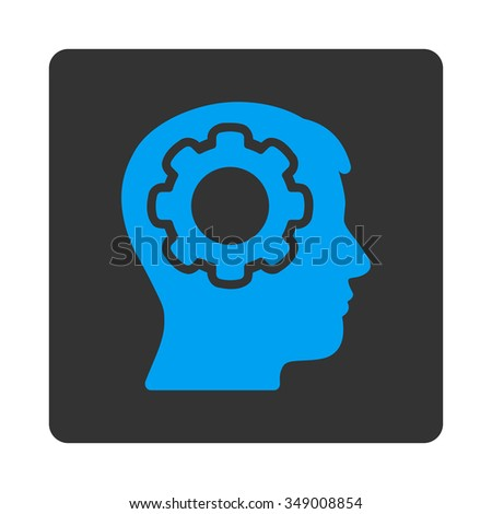 Human Memory vector icon. Style is flat rounded square button, blue and gray colors, white background. - stock vector