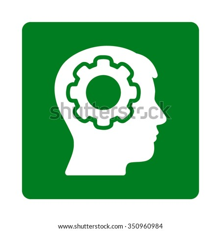 Human Memory vector icon. Style is flat rounded square button, white and green colors, white background. - stock vector