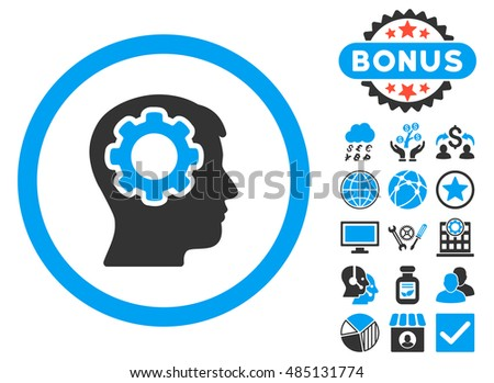 Human Mind icon with bonus pictures. Vector illustration style is flat iconic bicolor symbols, blue and gray colors, white background.