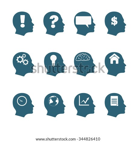 Human mind icons style flat design eps 10 - stock vector