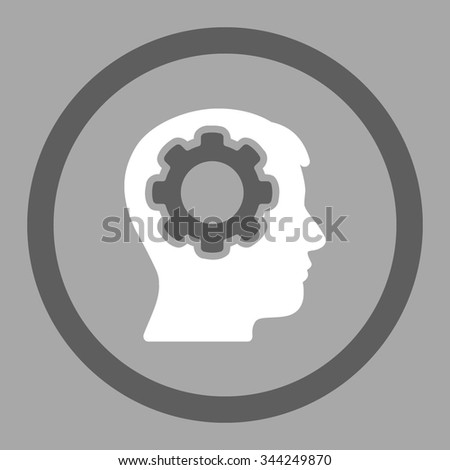 Human Mind vector icon. Style is bicolor flat rounded symbol, dark gray and white colors, rounded angles, silver background. - stock vector