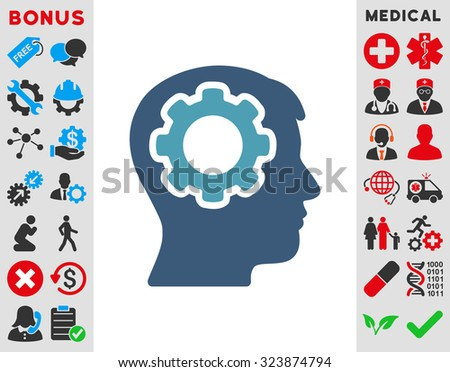 Human Mind vector icon. Style is bicolor flat symbol, cyan and blue colors, rounded angles, white background. - stock vector