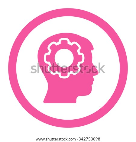 Human Mind vector icon. Style is flat rounded symbol, pink color, rounded angles, white background. - stock vector