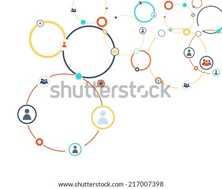 Human model connection on the white backdrop - stock vector
