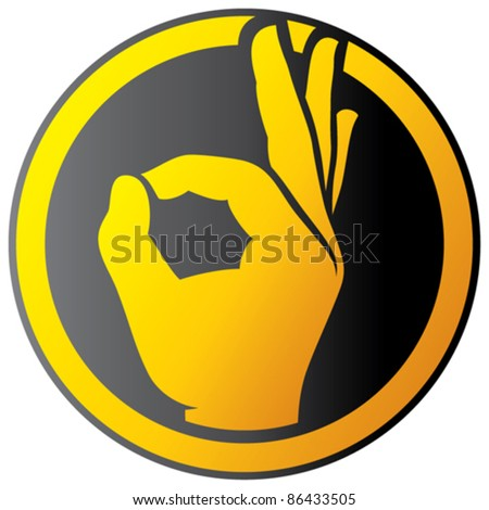 Human okay hand button - icon (OK hand symbol) - stock vector