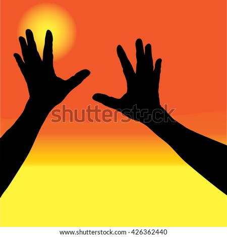 Human open empty hands with palms up over blurred sunset background. Merry Christmas, Thankful, Give thanks, Worship, Forgiveness, Mercy, Humble, Repentance, Reconcile, Adoration, Trust, Faith concept - stock vector
