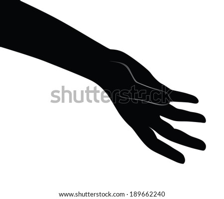 Human open palm. Vector illustration for a basic design. - stock vector