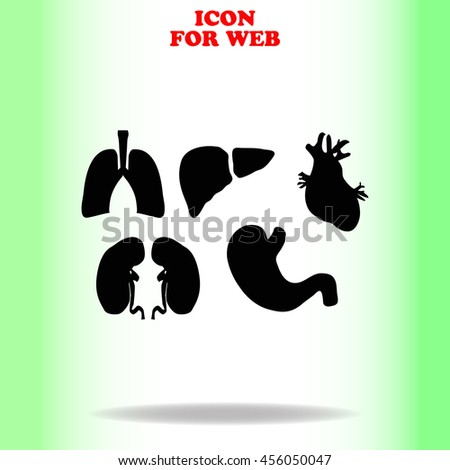 Human organs set web icon. Black illustration on white background