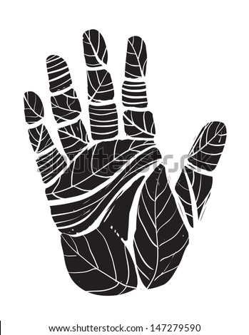Human Palm with Leaves Ecology Illustration. Layered vector EPS8 illustration in black color.