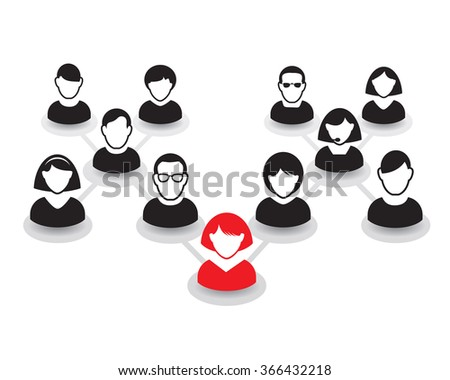 Human Portraits. Vector Icon of People. Office team and Leader. - stock vector