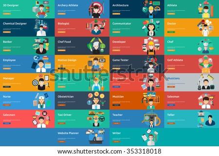 Human Profession Banner Set - stock vector