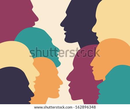 Human profile head in dialogue.  - stock vector