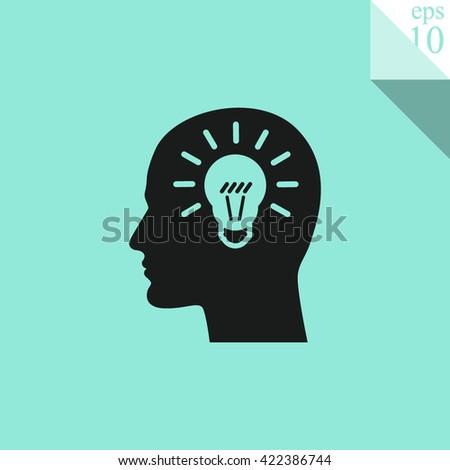Human profile with bulb  icon. Idea Icon. - stock vector
